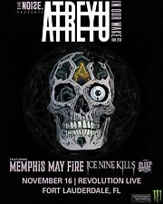 "ATREYU ""IN OUR WAKE TOUR 2018"" FT. LAUDERDALE CONCERT POSTER - Metalcore Music"