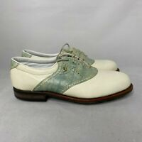 Foot Joy Mens Classics 90384 White Green Golf Shoes Lace Up Leather Size 8.5 B