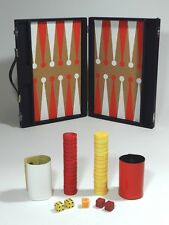 Vintage Bakelite Backgammon Game Pieces Red Butterscotch Dice Shaker Cube