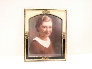 Reverse Painted Picture Frame Gold Tone Metal Filigree Young Lady Photo Art Deco