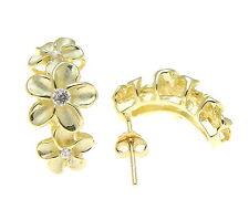 YELLOW GOLD PLATED STERLING SILVER 925 HAWAIIAN PLUMERIA FLOWER HOOP EARRINGS