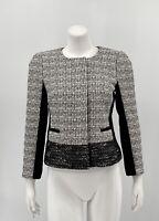 Banana Republic Women's Collarless Tweed Jacket 6 Black White Zip Snap Front