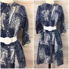 Vintage 70s navy blue bandana paisley print hippie boho house coat dress S M L