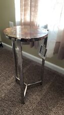 Small Accent Side Round Stand Table Silver With Marble Top.