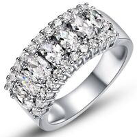 Men/Women CZ Couple Stainless Steel Wedding Ring Titanium Engagement Band 6-9
