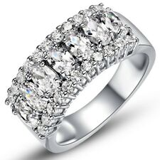 18K White Gold Italian-Cut Cz Row Eternity Ring White Gold Cubic Zirconia Ring
