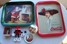 9 Vintage Christmas Collectable Ornaments Trays Pins  Coca Cola 7up Spot Plush