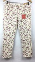 Mossimo Womens 6 Jeans Rose Floral Capri Cropped Skinny Mid-Rise Stretch A16-8