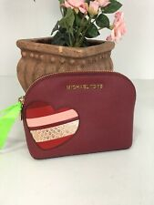 New Michael Kors Heart Appliqué Love Cosmetic Bag Leather Zip Cherry Red M1