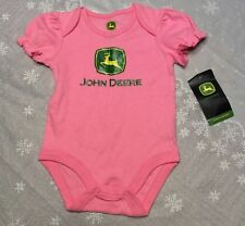 NWT John Deere 6-9 Month Girls Baby Bodysuit 3 Snap Closure Pink Tractor Cowgirl