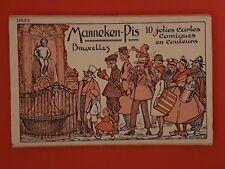 1954 Comic Rude Postcard Book of 10 Mannenken-Piss Fountain Bruxelles Series 2