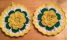 "2 Crocheted Potholders Home Made Green Yellow White round 8"" Flower 3D"