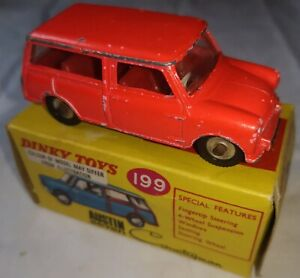 Dinky 199 Austin Seven Mini Countryman Fluorescent Red in correct box with flash