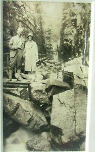 1920s Man & Woman Couple Bridge Waterway Boulders 4 x 2 1/4 Inch Photo 8x10 Mat