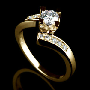 NATURAL 0.6 CT SOLITAIRE SIDE STONES ROUND DIAMOND 14K YELLOW GOLD PROMISE RING