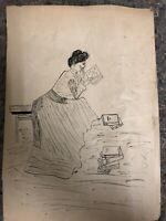 Pen & Ink Drawing of Women Reading Signed B.N.-Student Piece
