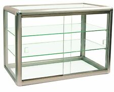 Elegant Champagne Trim Anodized Aluminum Display Table Top Tempered Glass Sho...