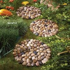 Set of 12 River Rock Stepping Stones Lawn Garden Decor New