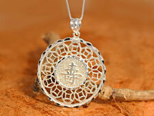 Chinese Charm Luck Necklace-Sterling Silver-charm,Chinese Good Luck Pendant.