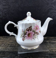 Vintage Queensway Bone China Floral Medium Teapot Classic Pottery England Mint