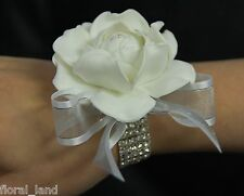 SILK WEDDING WRIST CORSAGE FLOWER WHITE LATEX GARDENIA FLOWERS CORSAGES PROM