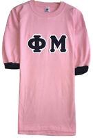 Vintage Eagle Women's Pink Phi Mu Sorority Single Stitch Cuffed Shirt USA Size L