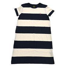 50834d65033f80 Polo Ralph Lauren Womens Dress Size Medium White Blue Striped Crew Neck