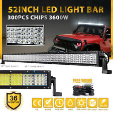 "52Inch 3600W Quad Row LED Light Bar Spot Flood Offroad Work Driving 4x4 UTE 50"""