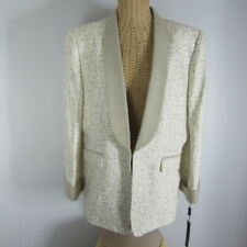 New Tahari Womens 14 Ivory Beige  Long Sleeve 100% Linen Blazer Career Classic