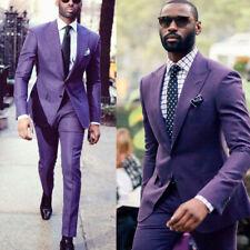 Purple Men Suit Slim Fit Groom Tuxedos Dinner Wedding Formal Business Work Wear