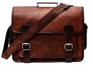 Handmade Casual Genuine Leather Messenger Shoulder Business Briefcase Bag Brown