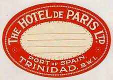 """The Hôtel de paris port of spain trinidad Old Luggage label valise autocollant """"L"""""""