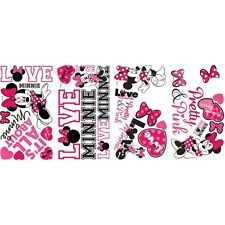 MINNIE MOUSE LOVES PINK 28 Wall Decals Heart Room Decor Stickers BOWS Decoration