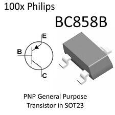 100x PNP Transistor BC858B BC858 SOT23 On Tape NXP