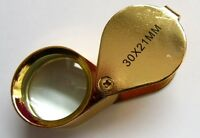 Gold coloured Magnifier 30x 21mm Jewelers folding Loupe Magnifying Glass Triplet