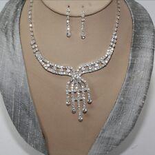 Juego de joyas collar pendiente cristal strass Novia Colgante Cadena Plata 87