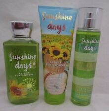 Bath & Body Works Sunshine Days Bright Sunflowers 3 Pc Gel Cream Fragrance Mist