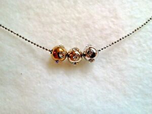 GOLD SILVER AND COPPER CRYSTAL BEADED NECKLACE