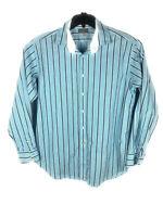 Thomas Dean Flip Cuff Shirt Long Sleeve Size Xl Men's Blue Check Button Down A30
