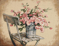 Cross Stitch Kit ~ Dimensions Country Pail of Roses on White Chair #35187