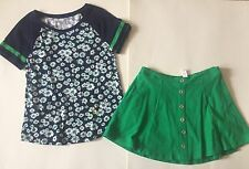 EUC Justice Navy Daisy Top And Green Button Skirt 10/12