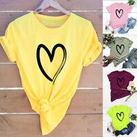 Plus Size S-5XL Heart Print Women Casual T Shirt Short Sleeve Tee Top Shirts