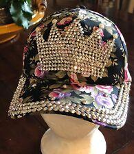 Magid Hat Women's Floral Print Rhinestone Crown Studded Cotton Baseball Cap Hat