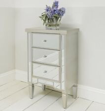 Mirrored Three Drawer Bedside Table Cabinet With Champagne Edge Bedroom