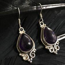 Dangle Earrings 1 11/16� X 9/16� Lovely Estate Sterling Silver Amethyst Cabachon