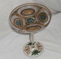 """Vintage..Decorative Shalotta Glass, 9"""" Tall..with Gold Accents..1940's to 1950's"""
