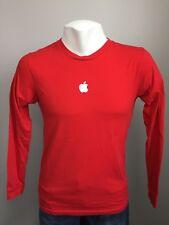 Apple Store Employee Mens Medium T Shirt Holiday Red USA Mac Genius Long Sleeve