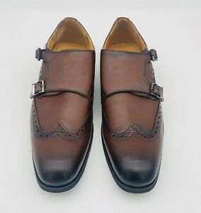 Santino Luciano Cognac Brown Cap Toe Monk Strap Modern Mens Size 9 C-380