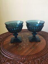 2 Vintage Dusky Stormy Blue Ice Cream/ Parfait Stemmed Glasses, Pointed Diamond