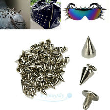 100X 10mm Silver Spots Cone Screw Metal Studs Leathercraft Rivet Bullet Spikes